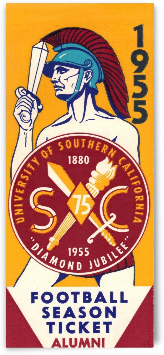 1955_College_Football_USC Alumni Season Ticket_Los Angeles Coliseum_Row One Brand Ticket Art by Row One Brand