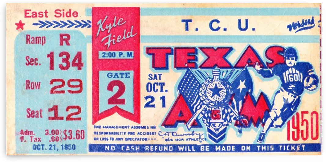 1950_College_Football_TCU vs. Texas A&M_Kyle Field_College Station_Row One Sports Art by Row One Brand