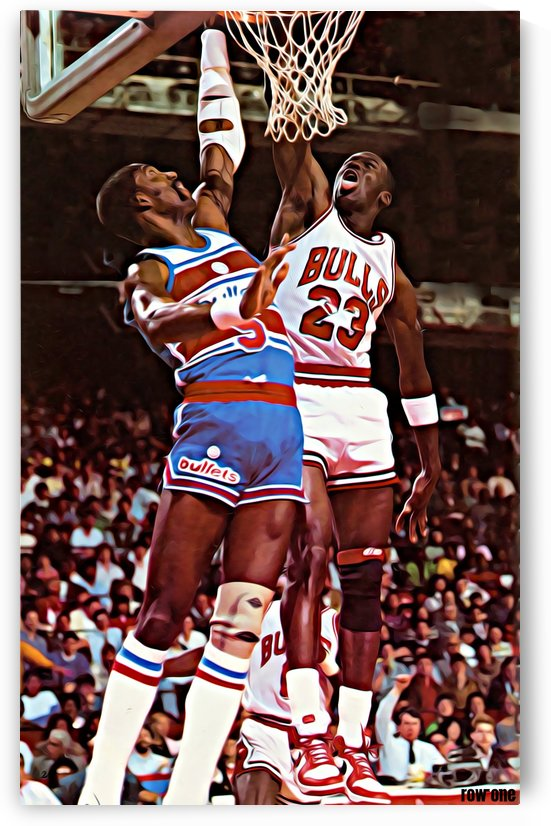 1985_Basketball_Art_Chicago Bulls_Michael Jordan vs. Washington Bullets_Mixed Media Artwork by Row One Brand