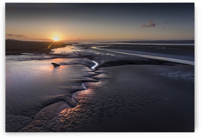Sunset over the Loughor estuary by Leighton Collins
