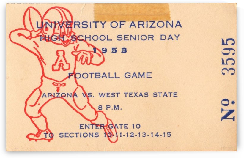 1953_College_Football_Arizona vs. West Texas State_Tucson_Row One Brand Ticket Stub by Row One Brand