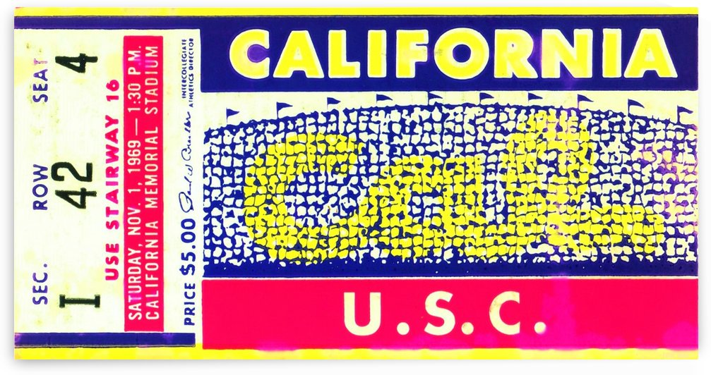 1969 Cal Bears Ticket Stub by Row One Brand