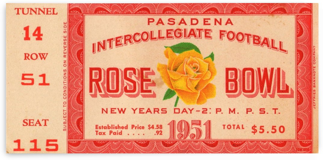 1951_College_Football_Rose Bowl_Michigan vs. California_Michigan won 14 6 Row One Brand Ticket Stub by Row One Brand
