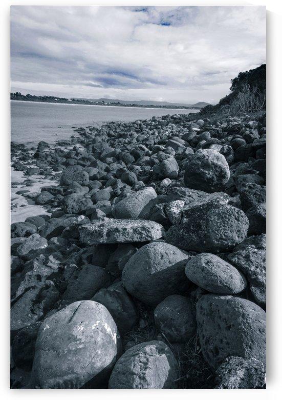 Rocky beach bay water blue filter. by Downundershooter
