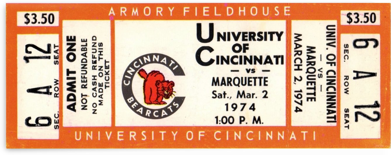 1974_College_Basketball_Marquette vs. Cincinnati_Armory Fieldhouse_Row One Brand College Ticket by Row One Brand