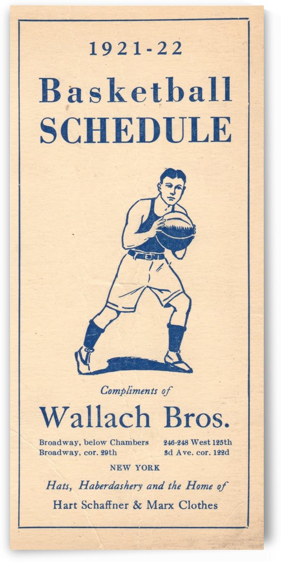 1921_High School_Basketball_Schedule_Vintage Sports Art by Row One Brand