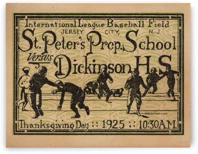 1925_High School_Football_St. Peters Prep vs. Dickinson_Jersey City_New Jersey_Vintage High School by Row One Brand