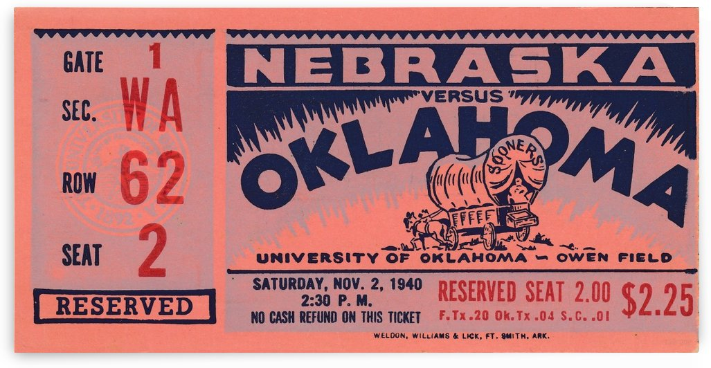 1940_College_Football_Oklahoma vs. Nebraska_Owen Field_College Football Rivalries_Ticket Stubs by Row One Brand
