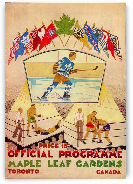 1932_National Hockey League_Toronto Maple Leafs_Maple Leaf Gardens_Hockey Art Collection by Row One Brand