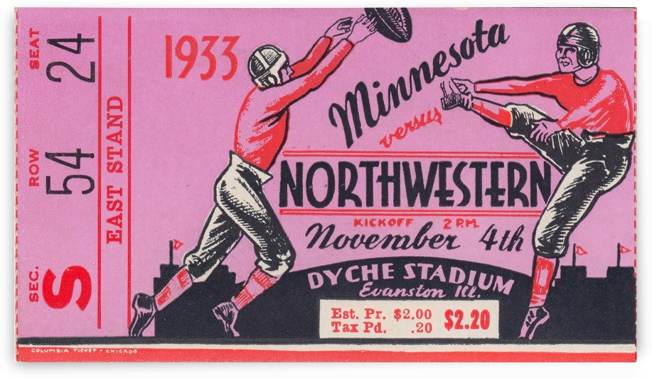 1933_College_Football_Minnesota vs. Northwestern_Dyche Stadium_Northwestern Ticket Stub Collection by Row One Brand