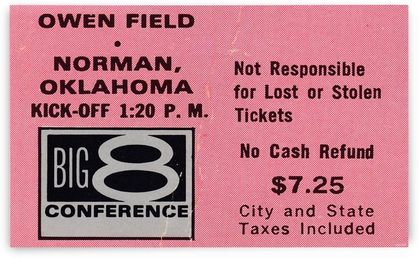 Oklahoma Sooners Football Ticket Stub Owen Field Big 8 Conference Art by Row One Brand