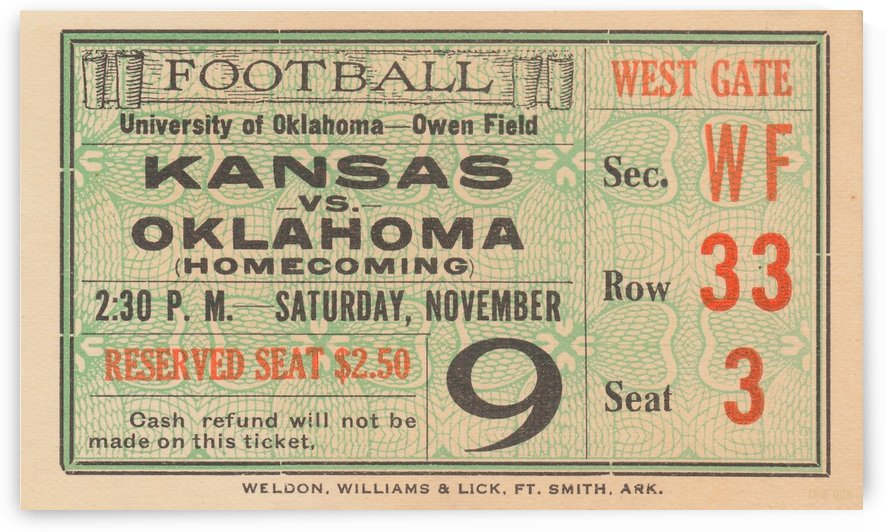 1929_College_Football_Kansas vs. Oklahoma_Owen Field_OU Football Ticket Collection by Row One Brand