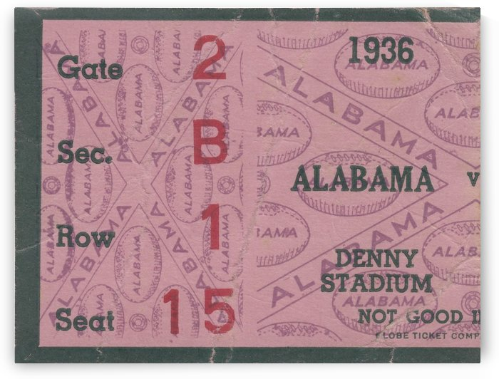 1936_College_Football_Alabama_Denny Stadium_Alabama College Football Ticket Stub Collection by Row One Brand