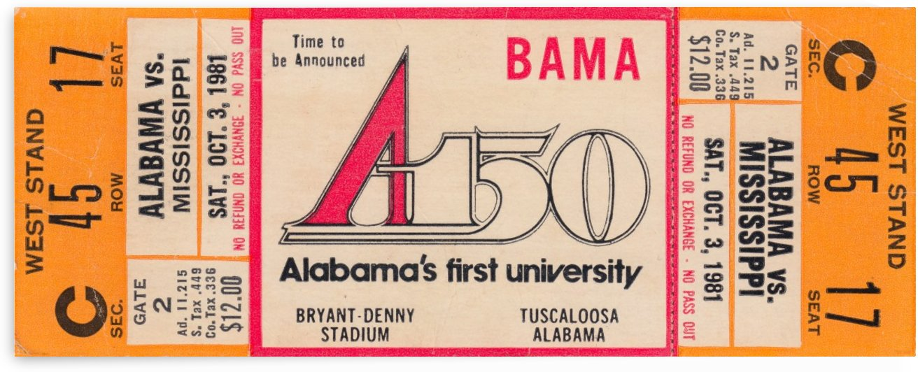 1981_College Football_Alabama vs. Ole Miss_Bryant Denny Stadium_Alabamas First University_Ticket by Row One Brand
