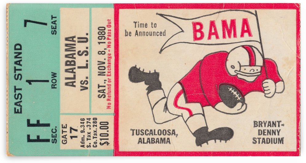 1980_College_Football_Alabama vs. LSU_Bryant Denny Stadium_Best Football Ticket Stub Collection by Row One Brand