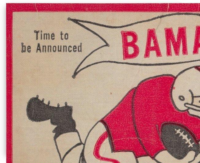 1980 Bama Football Player Flag Art_Tuscaloosa Alabama_Bryant Denny Stadium_Ticket Stub Art Creations by Row One Brand