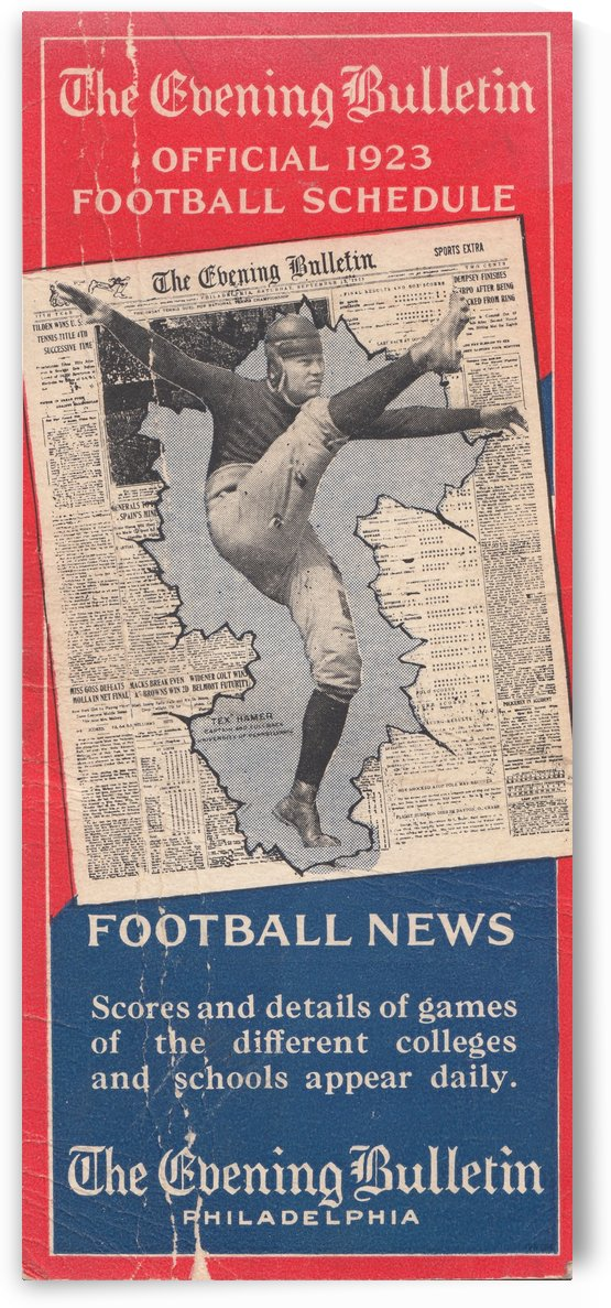 1923_College Football Schedule_Philadelphia Evening Bulletin_Vintage Schedule Art by Row One Brand