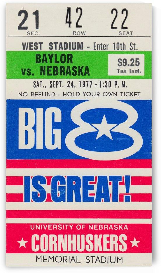 1977_College_Football_Nebraska vs. Baylor_Memorial Stadium_Nebraska Cornhusker Art Print by Row One Brand
