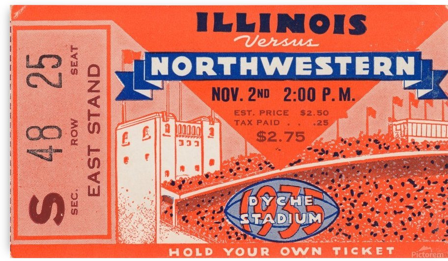 1935_College_Football_Northwestern vs. Illinois_Dyche Stadium_Evanston Gift Idea by Row One Brand