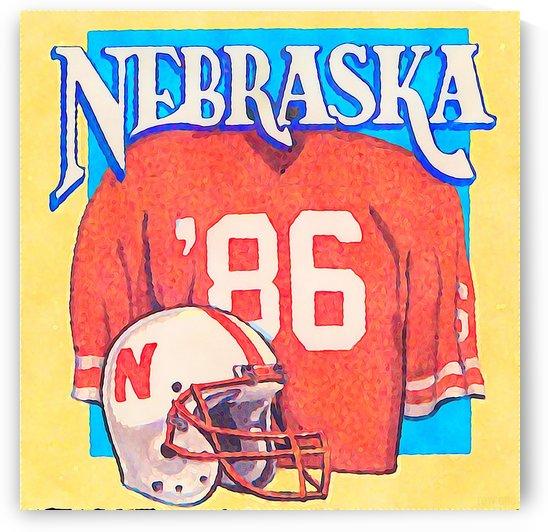 Retro College Football Art Nebraska Cornhuskers Wall Art Print by Row One Brand