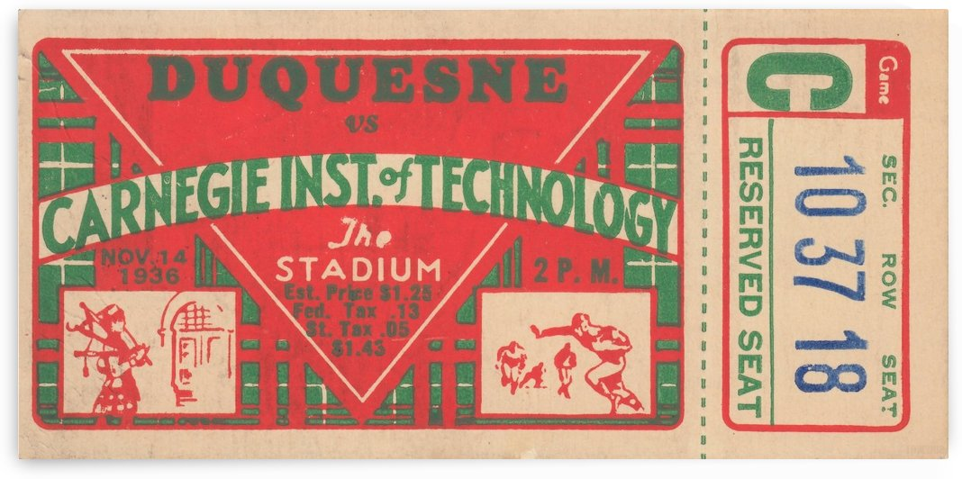 1936_College_Football_Duquesne vs. Carnegie Tech_The Stadium_Pittsburgh College Ticket Collection by Row One Brand