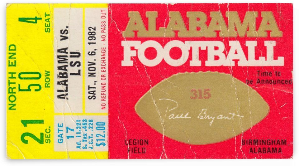 1982_College_Football_Alabama vs. LSU_Legion Field_College Football Memorabilia Collection by Row One Brand