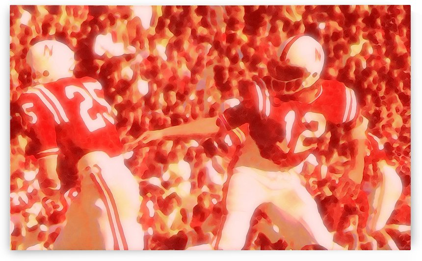 college football watercolor style vintage nebraska cornhuskers 1970s football art by Row One Brand