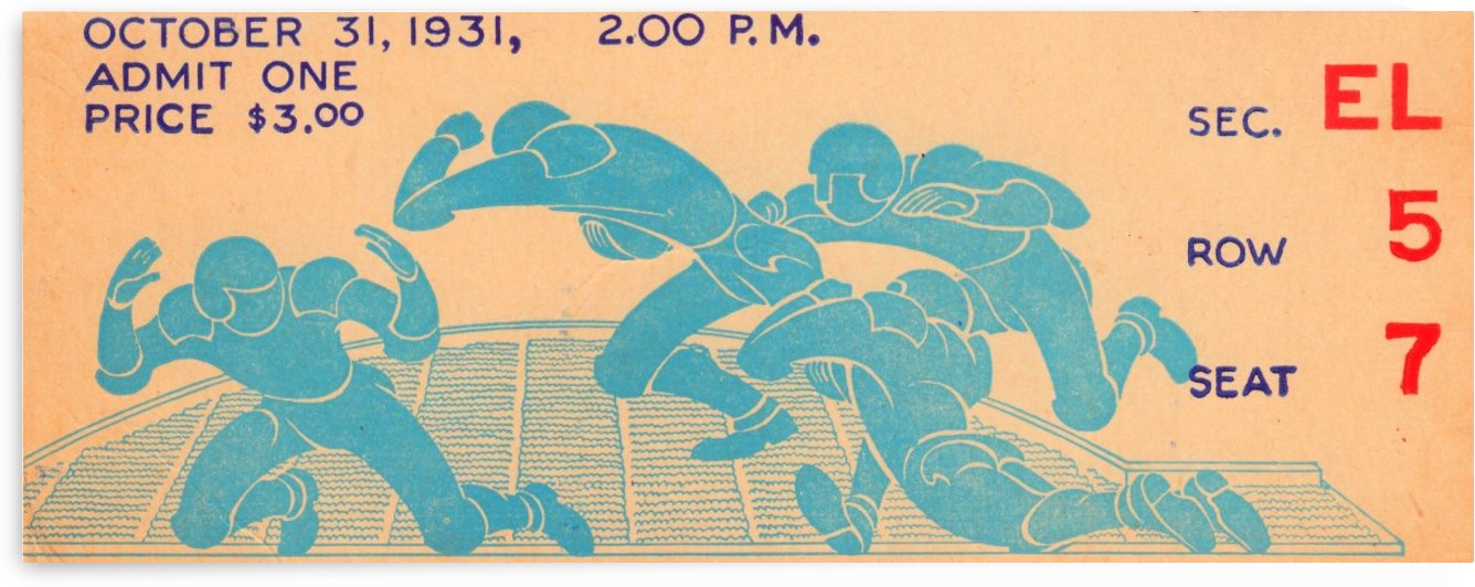 Vintage Sports Ticket Stub Art Football Ticket Artwork Collection by Row One Brand