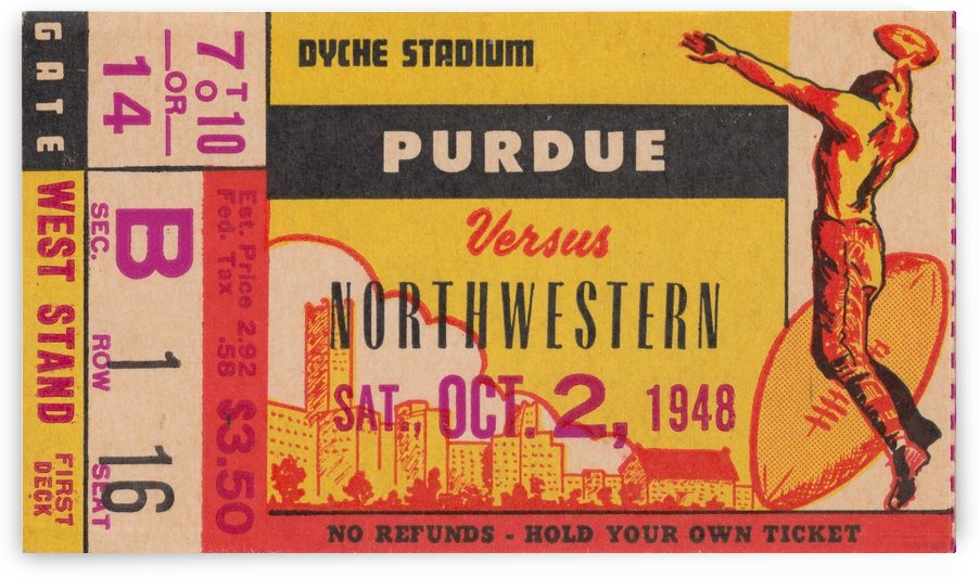 1948 Northwestern Wildcats vs. Purdue Boilermakers by Row One Brand