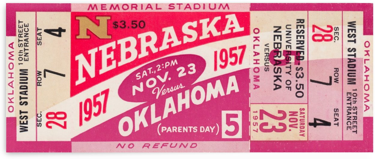 1957_College_Football_Nebraska vs. Oklahoma_Memorial Stadium Lincoln_Unique Wall Art Gifts by Row One Brand