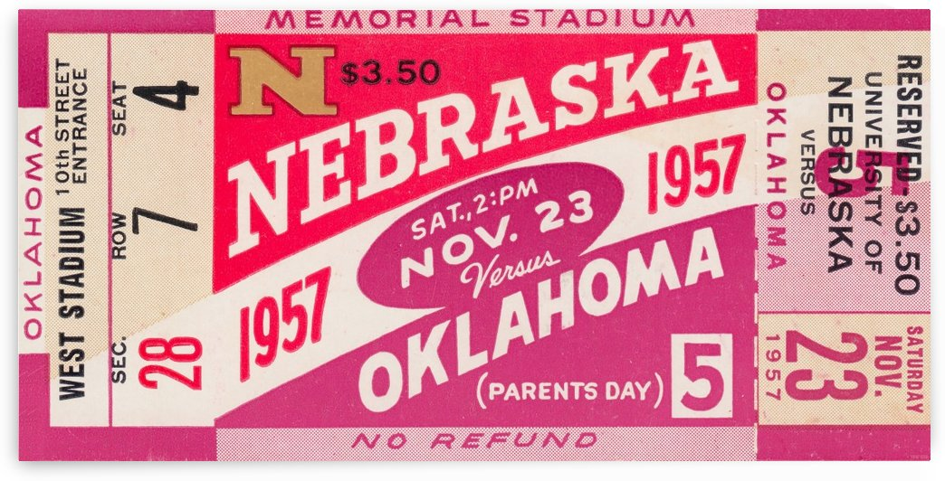 1957_College_Football_Nebraska vs. Oklahoma_Historic Memorial Stadium Lincoln_College Wall Art by Row One Brand