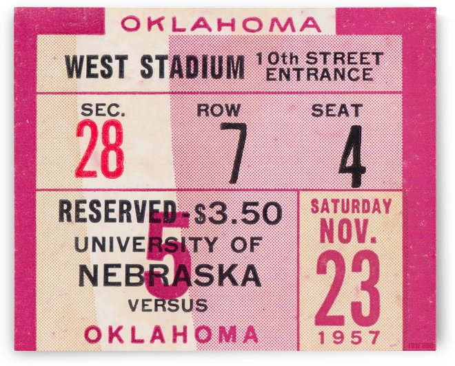 1957_College_Football_Nebraska vs. Oklahoma_Historic Memorial Stadium Lincoln_College Metal Signs by Row One Brand