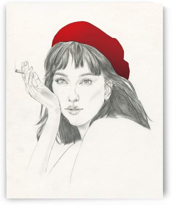 Girl with a red hat Fashion Illustration Print by Janus Ng