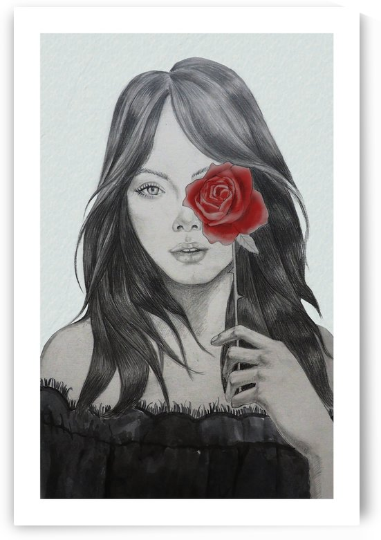 Girl with a rose fashion illustration print by Janus Ng