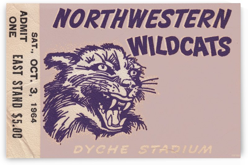Northwestern University Wildcats College Football Wall Art Ticket Stub by Row One Brand