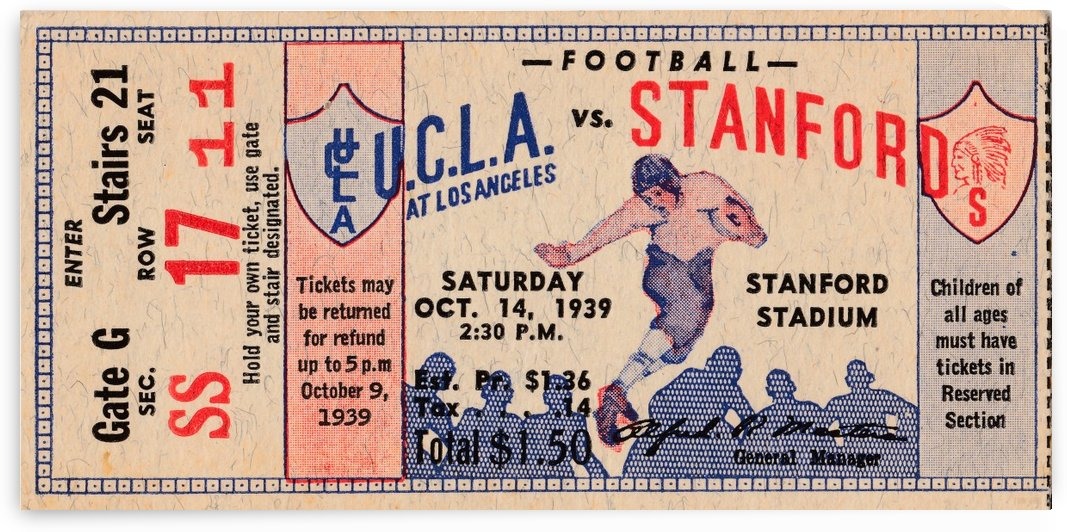 1939 College Football Ticket Stub UCLA vs. Stanford_Historic Stanford Stadium_Palo Alto California by Row One Brand