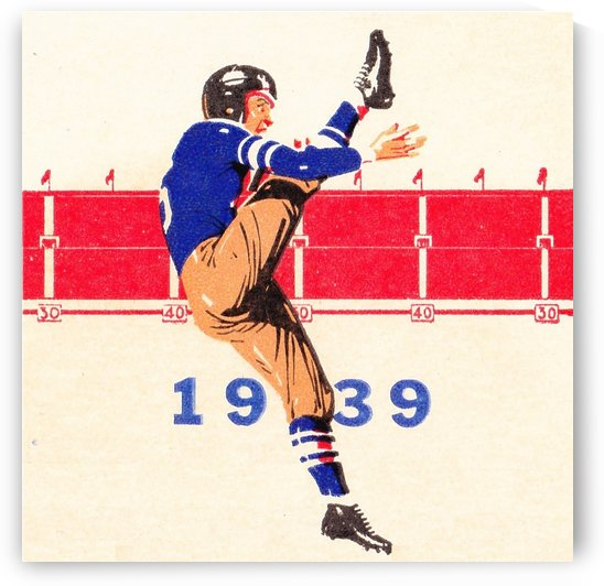 1939 Vintage Football Punter Art by Row One Brand