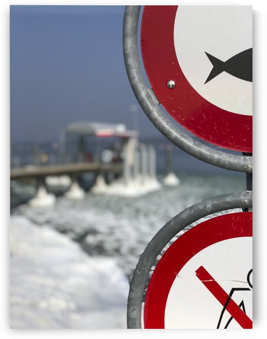 Almost Frozen Harbour in Bottighofen at the lake of Constance Red Signs of No Fishing and Swimming I by Swiss Art by Patrick Kobler