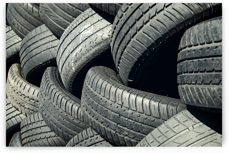 Tires stacked for recycling by Downundershooter