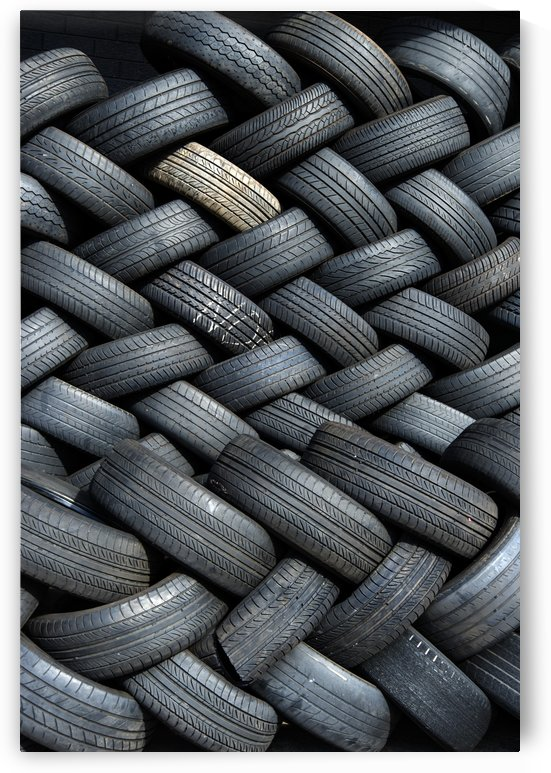 Tires stacked herringbone pattern for recycling by Downundershooter