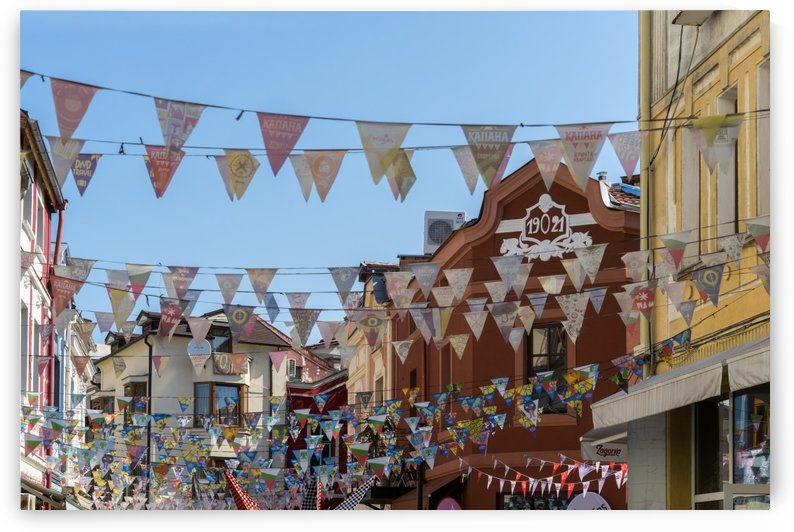 Kapana Plovdiv Pennants - Vibrant Originality in Blue Brown and Yellow by GeorgiaM