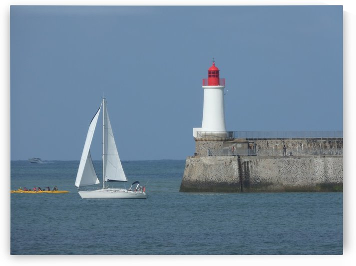 sailboat coming out of the harbor by James Cool