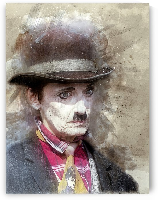 Charlie Chaplin paint by Damian Crown