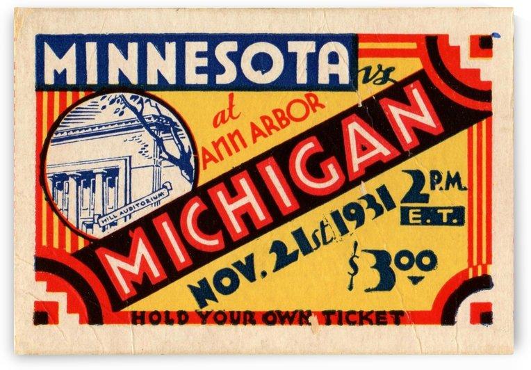 Michigan Football Ticket Stub Art 1931 by Row One Brand