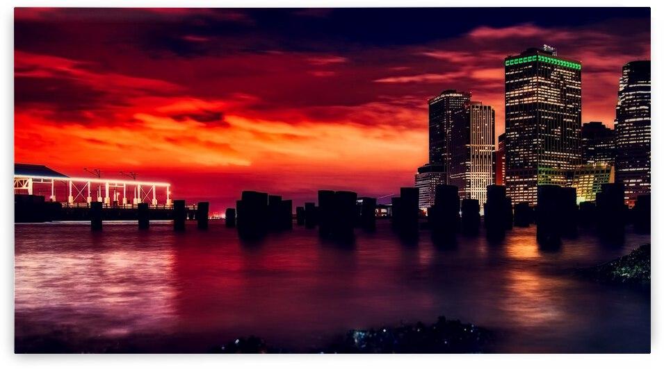 new york city urban skyline harbor by Shamudy