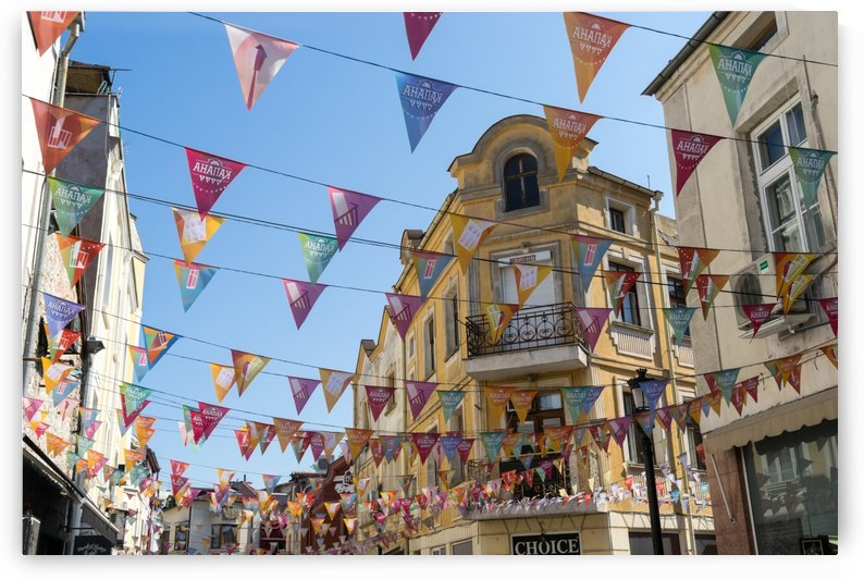 Kapana Plovdiv Pennants - Vibrant Originality In Blue Pink And Yellow by GeorgiaM