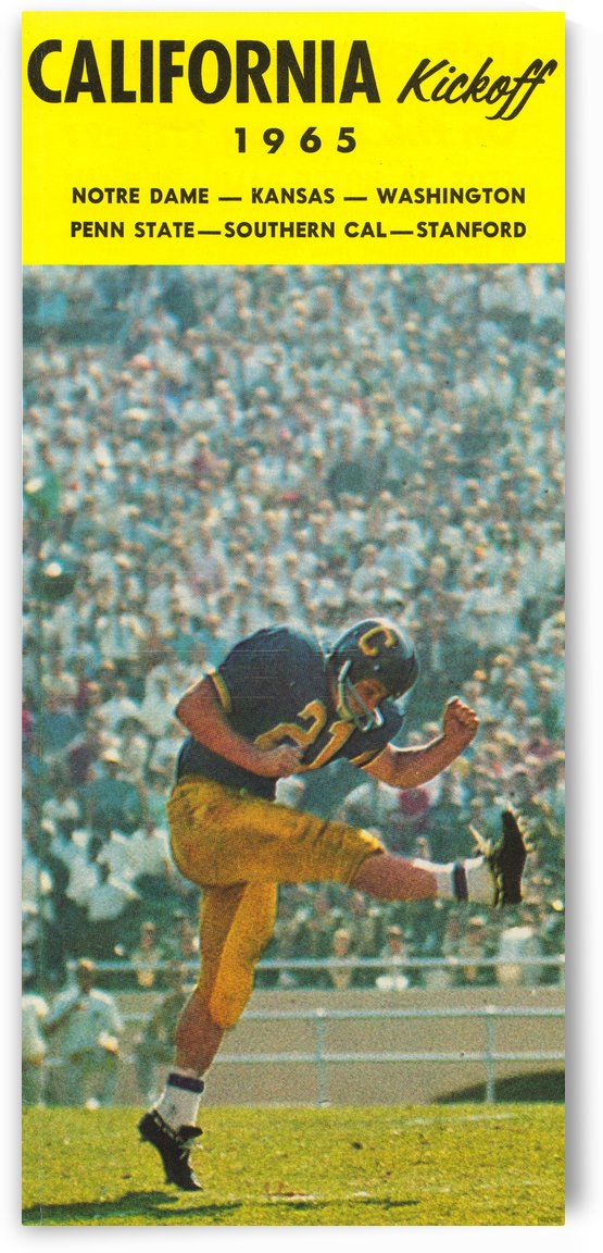 1965 College Football Photo California Bears Kickoff Punter Art by Row One Brand