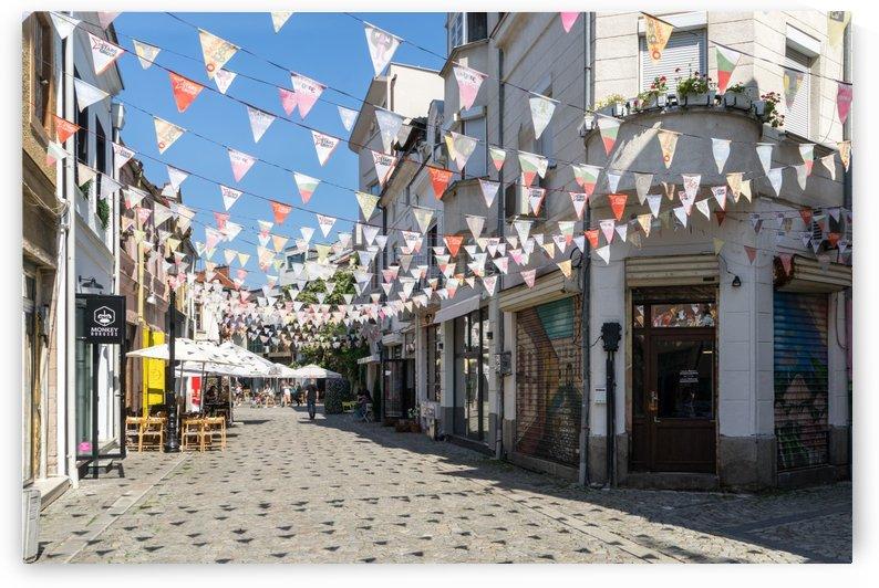 Kapana Plovdiv Pennants - Cool Triangular Shadows on a Cobblestone Side Street by GeorgiaM