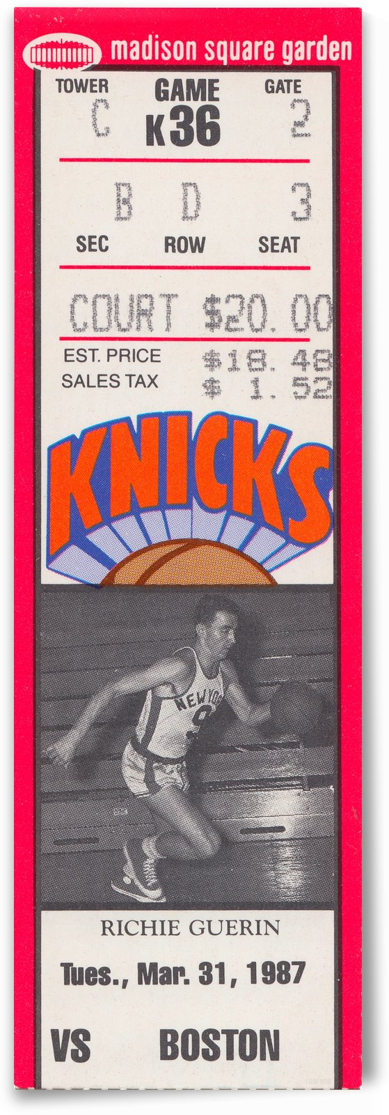 1987 New York Knicks vs. Boston Celtics Basketball Ticket Stub Art Reproduction by Row One Brand