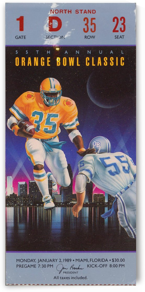 1989 College Football Orange Bowl Miami Hurricanes vs. Nebraska_Football Ticket Stub Art by Row One Brand